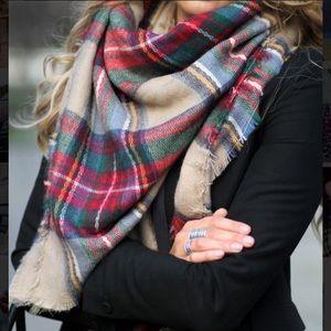ZARA Plaid Tartan Check Blanket Scarf Wrap Shawl
